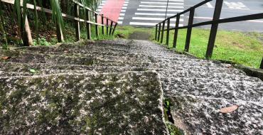 Descaso da Prefeitura: Escada de pedra traz risco para moradores do bairro Costa e Silva
